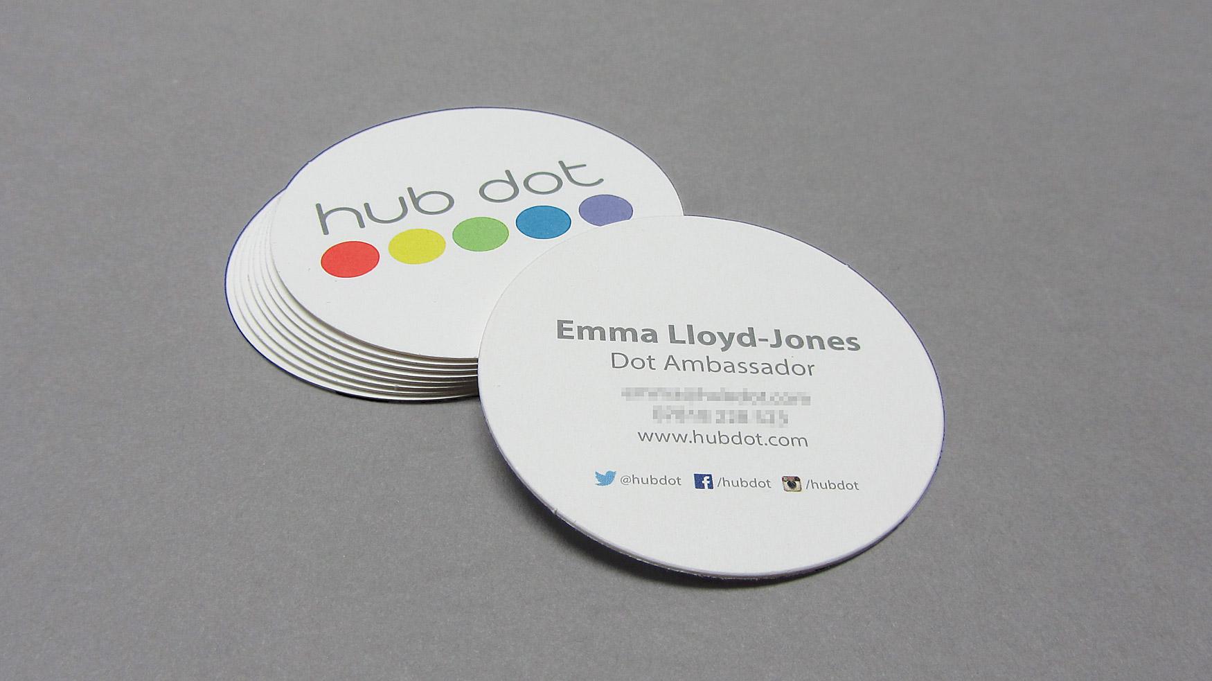 The hub london round business card freestyle print london printers uk the hub london round business card colourmoves